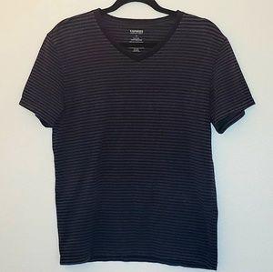 Express Men's Black & Grey Striped V Neck T-Shirt
